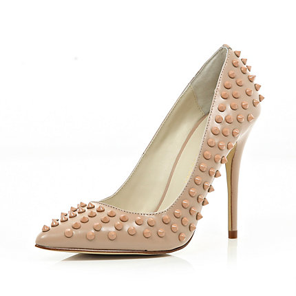 Pink studded point court shoes
