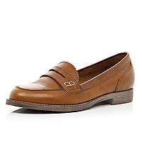 Brown leather classic slip on loafers