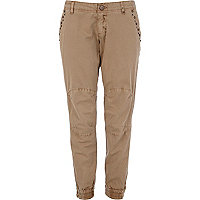 Beige embellished slim combat trousers