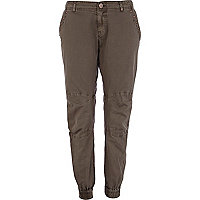 Khaki embellished slim combat trousers