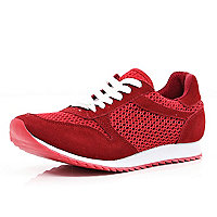 Red mesh panel lace up trainers