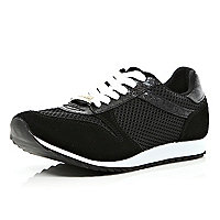 Black mesh panel lace up trainers