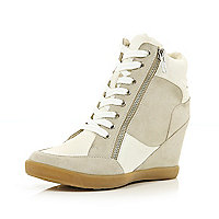 White contrast wedge high tops