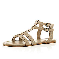 Beige studded gladiator sandals