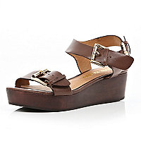 Brown wooden chunky strap wedges