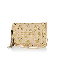 Cream western studded clutch bag