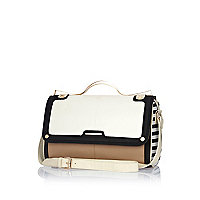 White contrast panel metal handle bowler bag