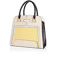 Yellow contrast panel structured tote bag