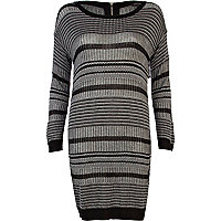 Black patterned knitted dress