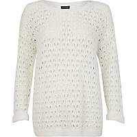 White chunky open knit pattern jumper