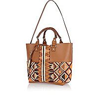 Beige leather beaded panel tote bag