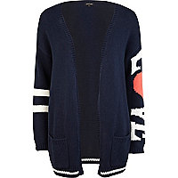 Navy love sleeve oversized cardigan