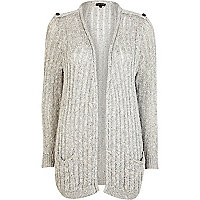 Grey slub sequin longline cardigan