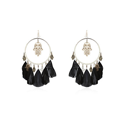Black hand and feather hoop earrings
