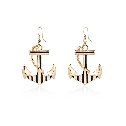 Gold tone stripe anchor drop earrings