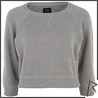 Grey marl Rihanna cropped sweatshirt