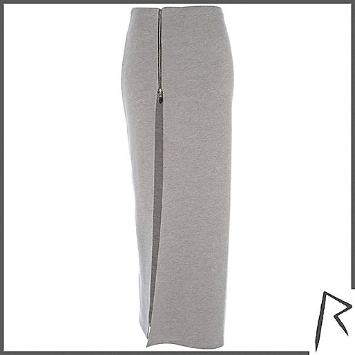 Grey Rihanna thigh split sweat maxi skirt
