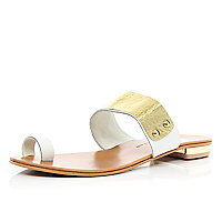 White metal embellished slip on sandals