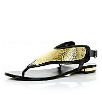 Black metal embellished thong sandals