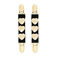 Black gold tone heart suspender clips