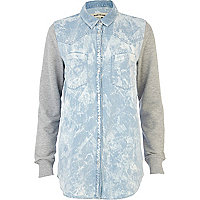 Light wash jersey sleeve denim shirt