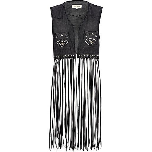 Black long fringed stud denim vest