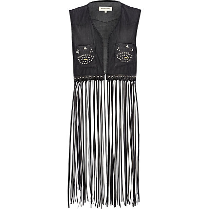 Black long fringed stud denim waistcoat