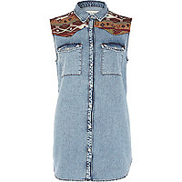 Denim aztec panel acid wash sleeveless shirt