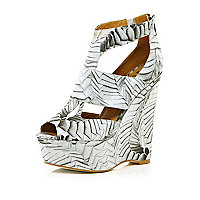 White Georgia Hardinge printed cut out wedges