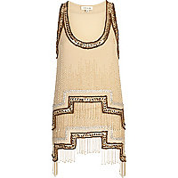 Bronze stepped hem embellished tank top