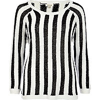 Black and white striped sequin jumper