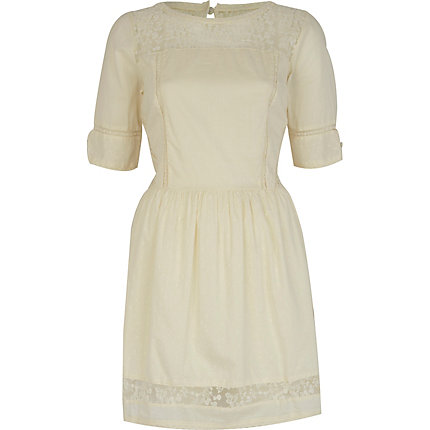 Cream lace insert 3/4 sleeve dress