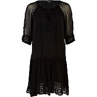 Black drop waist smock dress