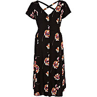 Black floral print button through midi dress