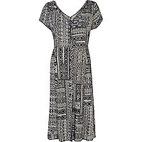 Black and white tribal print maxi dress