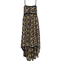 Black floral dip hem maxi dress