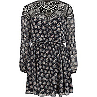 Black floral lace insert boho dress