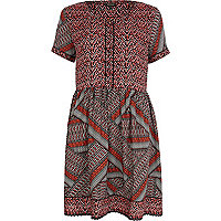 Red contrast print short sleeve smock dress