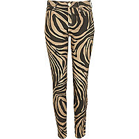 Black overdye zebra print Molly jeggings