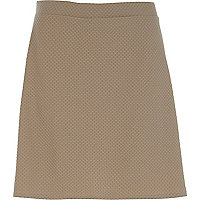 Beige textured a line skirt