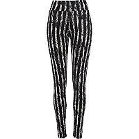 Black pattern stripe high waisted leggings
