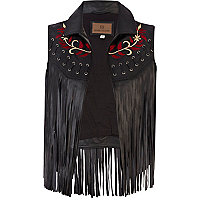 Black leather fringed embroidered gilet