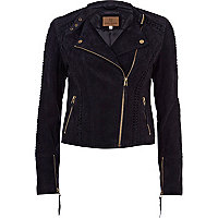 Navy suede whip stitch biker jacket