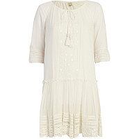 Cream drop waist smock dress