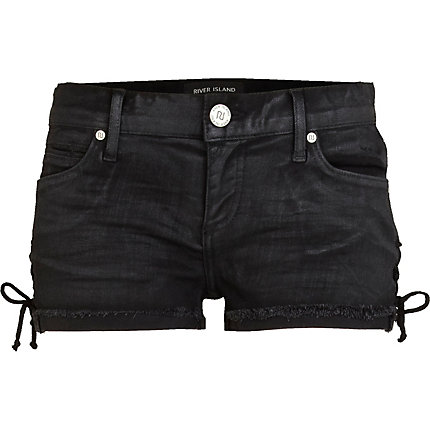 Black frayed turn up lace side denim shorts