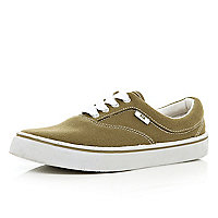 Khaki canvas lace up plimsolls