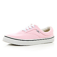 Pink canvas lace up plimsolls