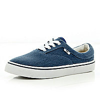 Navy textured lace up plimsolls
