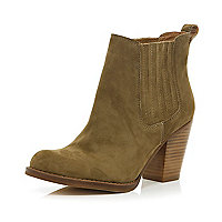 Beige leather western ankle boots
