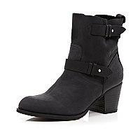 Black western soft washed ankle boots